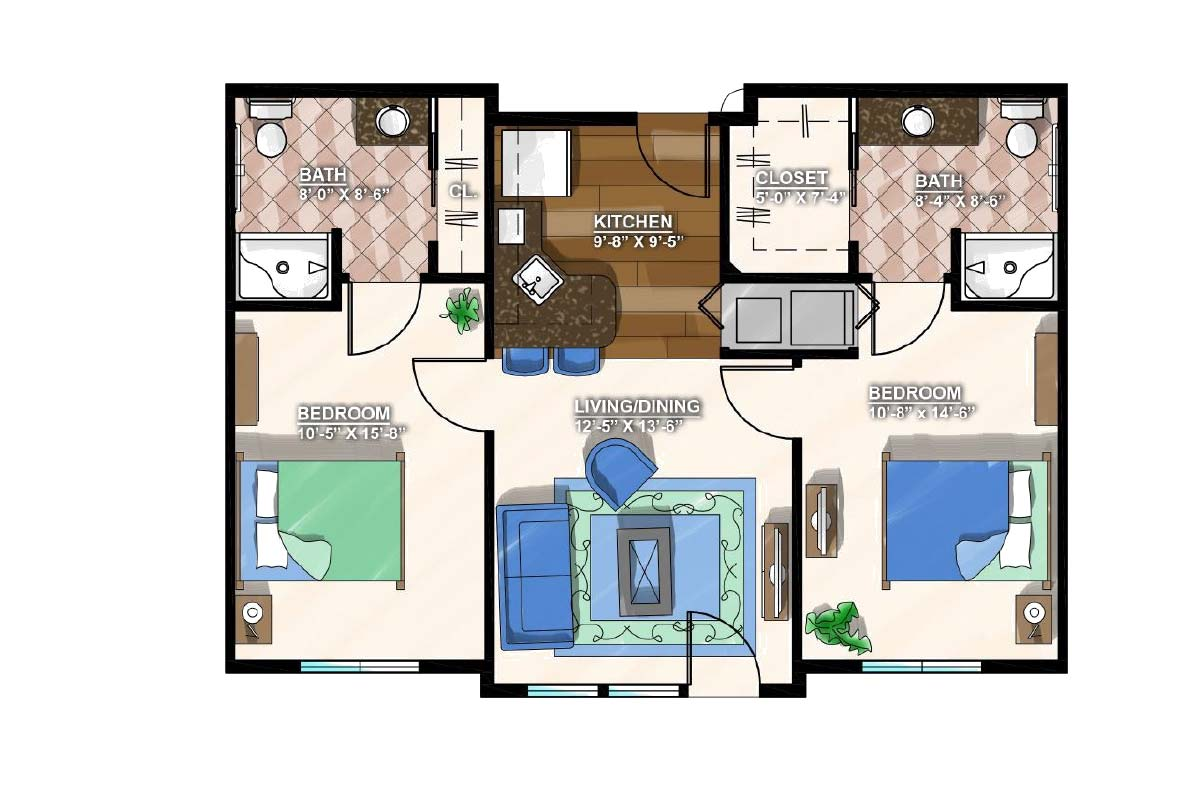 Two Bedroom A <span>853 SF.</span>